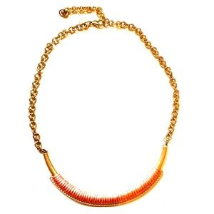 Gold and Peach rounded Bar Necklace